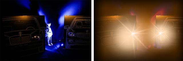 Versuchsaufbau: links blau angestrahltes Kind, rechts bei LED-Scheinwerfer Gegenlicht und polarisiertem Brillenglas