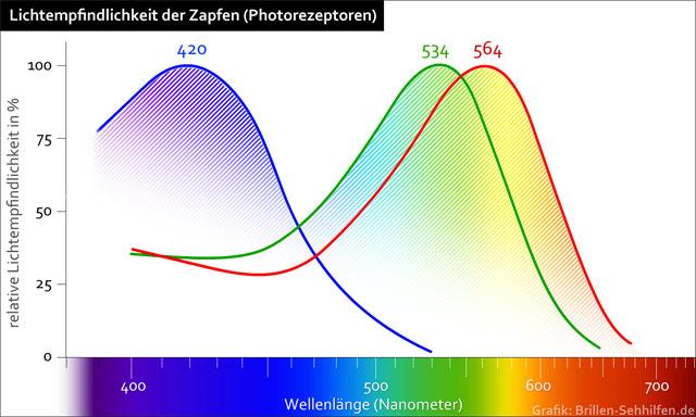 Farbensehen - Wellenlänge Empfindlichkeit Zapfen
