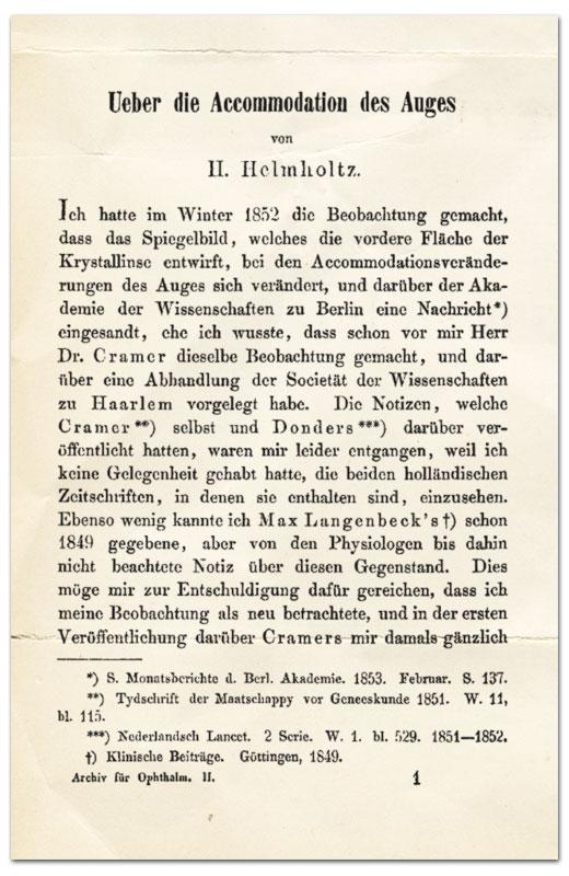 Helmholtz Buchseite: Accommodation des Auges