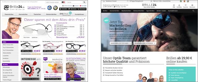 Brille24 Vergleich vom alten (links) und neuen Design (rechts)