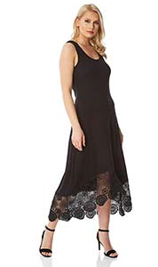 Roman Originals Midi-Kleid mit Häkelborte