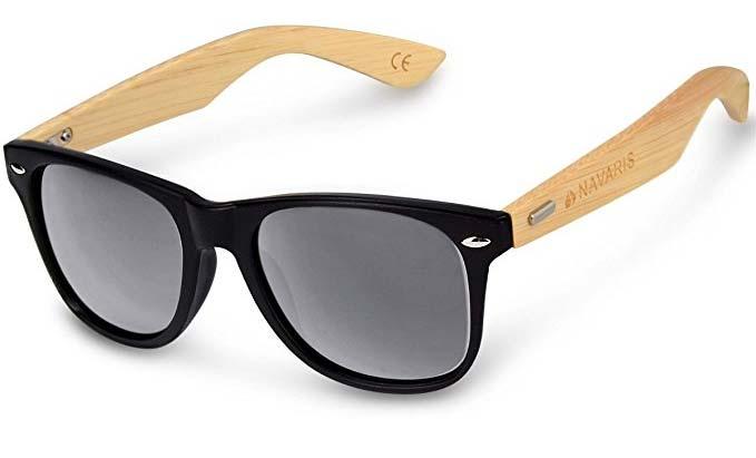 Sonnenbrille Wayfarer mit Bambus Bügeln (UV400) von Navaris