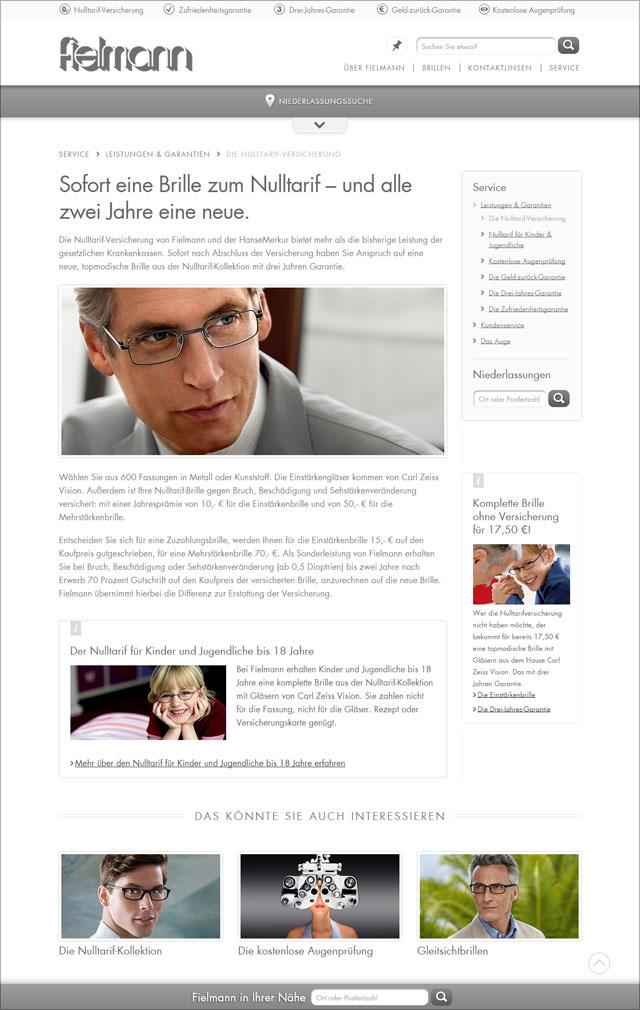 Fielmann Website nach dem Relaunch Sept. 2014 (Bereich Nulltarif-Versicherung)
