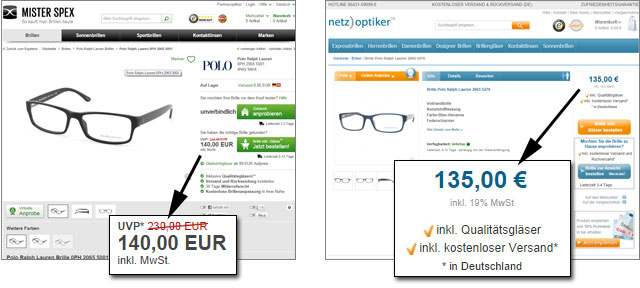 Vergleich der Preise (und des Designs) von netzoptiker und Mister Spex