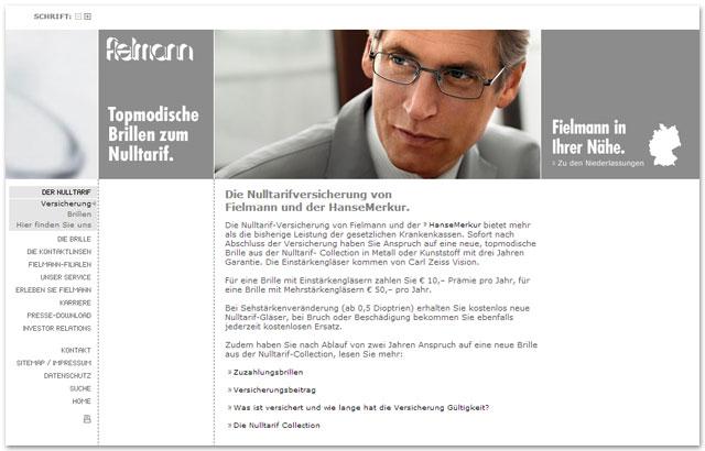 Altes Design der Fielmann Website (Brillenversicherung)