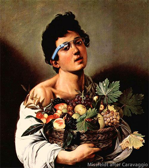 Knabe mit Früchtekorb und Google Brille (nach Caravaggio)