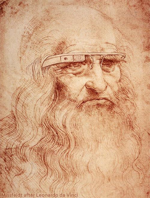 Leonardo da Vinci mit Google Brille