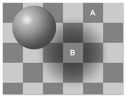 Quadrate des Schachbretts unterschiedlich hell? (optische Täuschung)